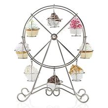 Stainless Steel 8-Cup Ferris Wheel Silver Cupcake Stand Cake Holder Decorating Display Wedding Party Supplies