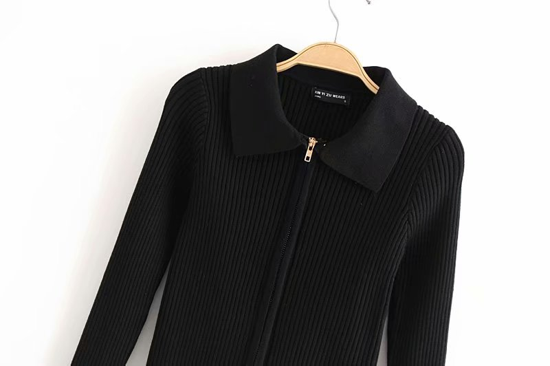 Woman Knitted Cardigan Turn-down Collar Double Zipper Sweater European Style Solid Color Tight Short Crop Tops Streetwear 929 (8)