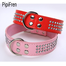 PipiFren Genuine leather Big Dogs Collars Rhinestone Accessories Supplies Leash For Large Dog Necklace Pet Collar Leather Shop(China)