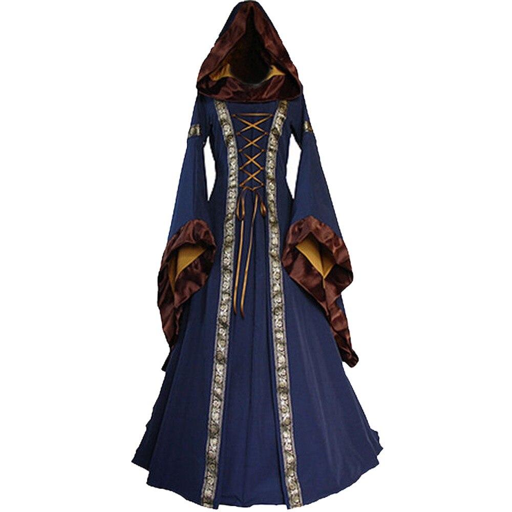 Vintage Gothic Square Neck Long Dresses Women Medieval Renaissace Gown Dress Female plus size clothes vestidos mujer vestido gown