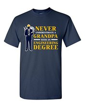 T Shirt Deals Broadcloth Men Never Underestimate A Grandpa With Engineering Degree Funny Crew Neck Short-Sleeve T Shirt