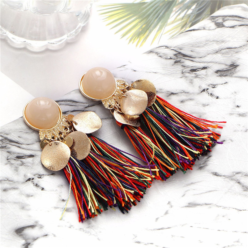 2018 Trendry Earrings for Women Bohemian Fashion Weave Tassel Earrings Long Drop Earrings Jewelry for gift Brincos J05#N (8)