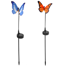 2pcs Waterproof Solar Power RGB Color-changing LED Fiber Optic Butterfly Lights LED Garden Lamps Solar Garden Lawn Lamp