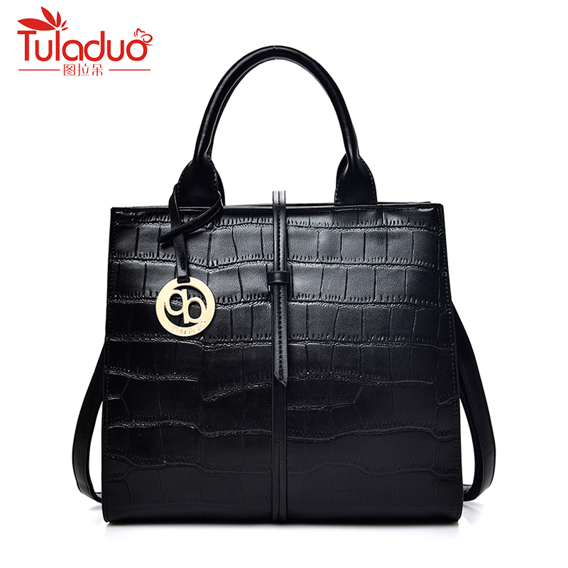Famous Brand Womens Genuine Leather Handbags High Quality Sheepskin Ladies Shoulder Bags Fashion Bucket Bags Women Tote<br>