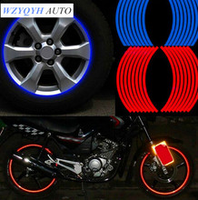 "New! 16 Pcs Strips Wheel Stickers And Decals 17"" 18"" Reflective Rim Tape Bike Motorcycle Car Tape 5 Colors Car Styling(China)"