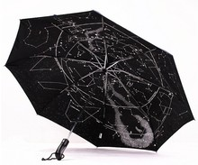 Free Shipping 3Pieces Beautiful Starry Sky Folding Constellation Umbrella Star Map Umbrella Automatic Fashion Umbrella