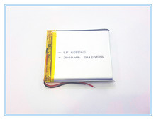 Free shipping 3.7V,3000mAH,[655565] PLIB; polymer lithium ion / Li-ion battery for dvr,GPS,mp3,mp4,cell phone,speaker