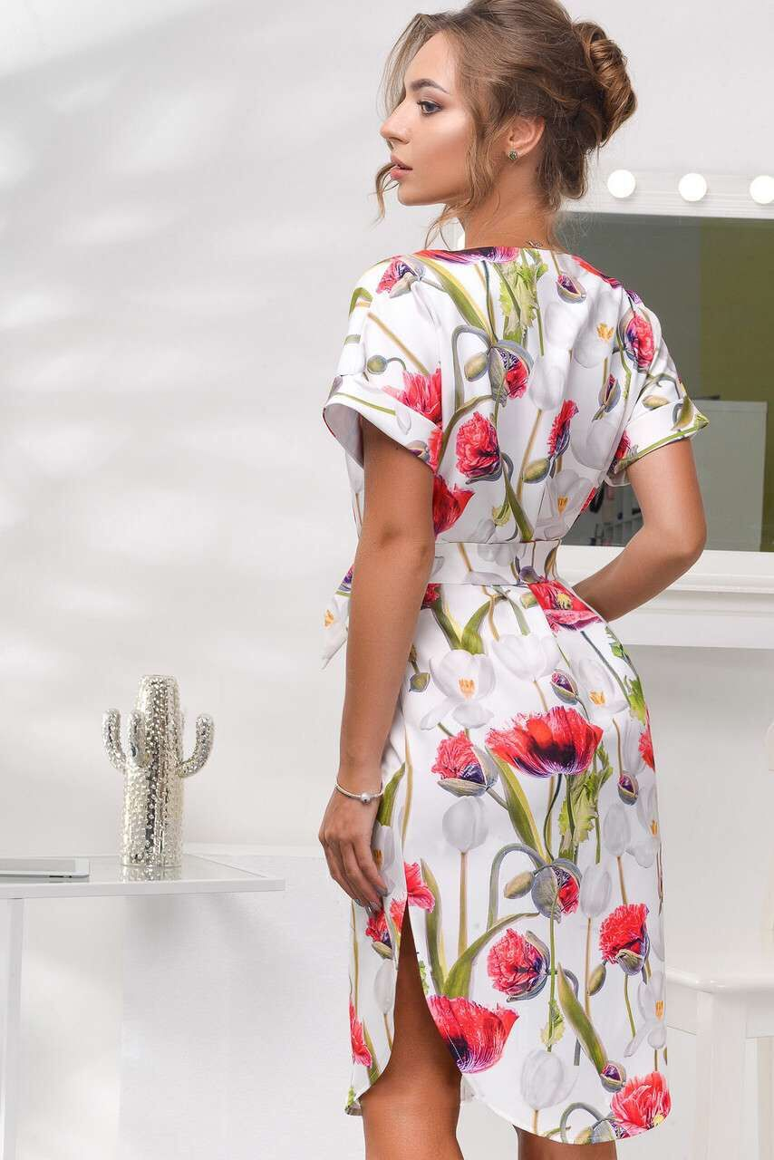 2018 Spring Summer Printed Women Dress O-Neck Hem Side Split Ladies Dresses Tie Sashes Short Sleeve Casual Sexy Female Vestidos 5