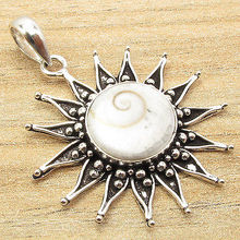 Indian SHIVA EYE Retro Fashion Artwork SUN Pendant !  Silver Plated Jewelry