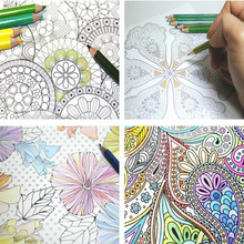 4 Different Models / Batch Page 24 Flower Mandala Coloring Book For Children Adults To Spend Time To Ease The Pressure Line Draw