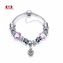 Allencoco Vintage DIY Silver Charm Glass Beads Crystal Oil Drip Flowers Pendant Snake Chains Fashion Bracelets/Bangles Jewelry(China)