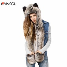 Vancol 2016 New European Fashion Faux Fur Hat Scarf One Piece Cute Animal Cartoon Warm Thicken Winter Hat Scarf for Women Men(China)
