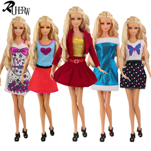 5 piece / lot Fashion Beautiful clothes for barbie doll 5 style casual dress for you(China)
