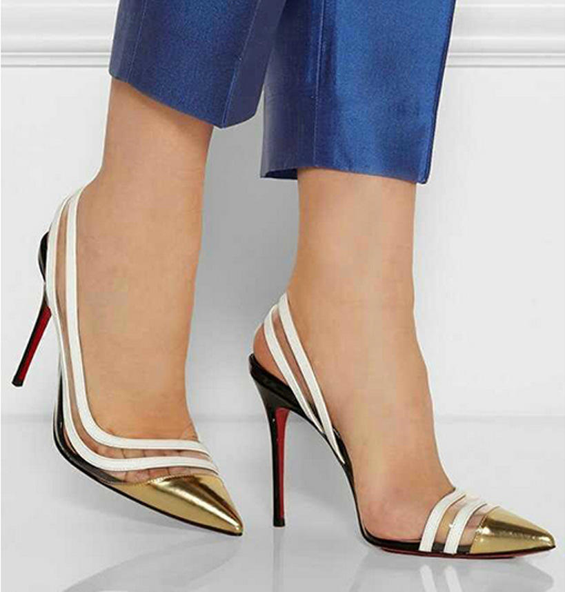2017 European Style Gold Red Hollow Out Stiletto Ladies High Heeled Shoes Slingbacks Pointed Toe Womens Pumps Patchwork Sandals<br><br>Aliexpress