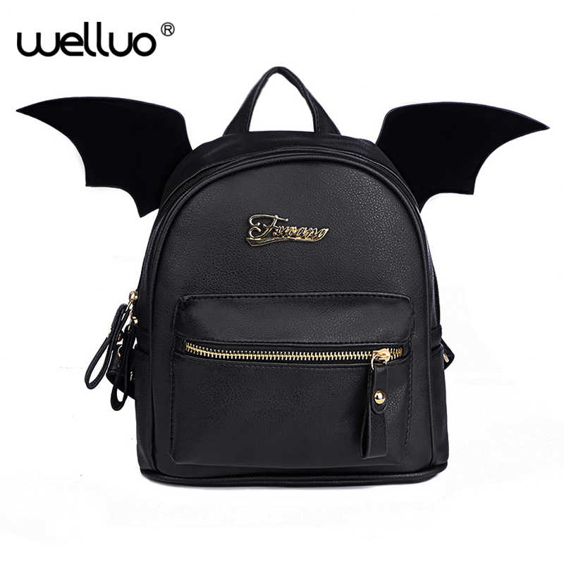 980dd3b373 PU Leather Backpack Women Bat Wings Backpacks Teenage Girls Mini Black Bag  Fashion Small Shoulder Bag