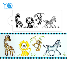 YO 1pcs 14in*6in Jungle Animal Cake Mold Design Stencil Fondant Molds Cake Decorating Tools Bakeware