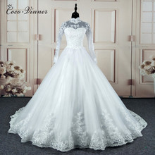 C.V High Neck Vestido De Noiva 2018 IIIusion Back Long Sleeve Wedding Dress Custom made Lace Ball Gown Wedding Dress W0019(China)