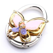 Foldable 3D Butterfly Rhinestone Purse Bag Hanger Handbag Hook Holder Multicolor(China)
