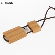 XIWANG 10 units can be customized LOGO wooden lanyard USB flash drive 4G 8G 16G 32G USB flash drive creative gift memory stick(China)