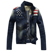 2016 New Arrival Men Jacket Men casual Jean Coat american flag suit jacket PU leather patchwork distressed antique(China)