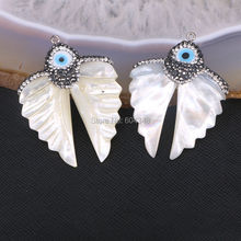5pcs Pretty Natural White Shell Carved Angel Wings Pendant with Paved Zircon Natural Shell Pearl Carving Wing Gem Pendants
