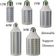 Dimmable 12W 15W 25W 30W 40W LED Lamp E27 E26 B22 E14 B15 Lighting Lampada Support Dimmer LED Light Dimming Corn Bulbs Spotlight