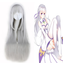 RE: ZERO Starting Life in Another World Emilyia Cosplay Women Long Straight Synthetic Wigs Grey Hair Heat Resistant Costume Wig(China)