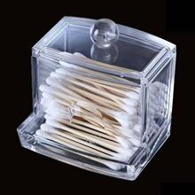 Clear Acrylic Cotton Swab Q-tip Storage Holder Box Cosmetic Makeup Case Hot storage holder home storage box A676