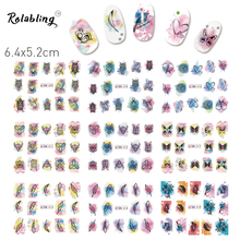 New 1 Set Nail Feather Leaf Pattern Series Nail Stick For Nail Water (12 DESIGNS IN 1) Fingernail Decorations