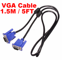 Top Quality Hot Blue 5M 15 PIN VGA HDB15 SUPER VGA M/M Male To Male Connector Cable Cord Extension Monitor FOR PC TV