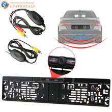IR Night Vision EU License Plate Frame Car Rear View Backup Reverse Camera + 2.4G Wireless Color Video Transmitter and Receiver(China)