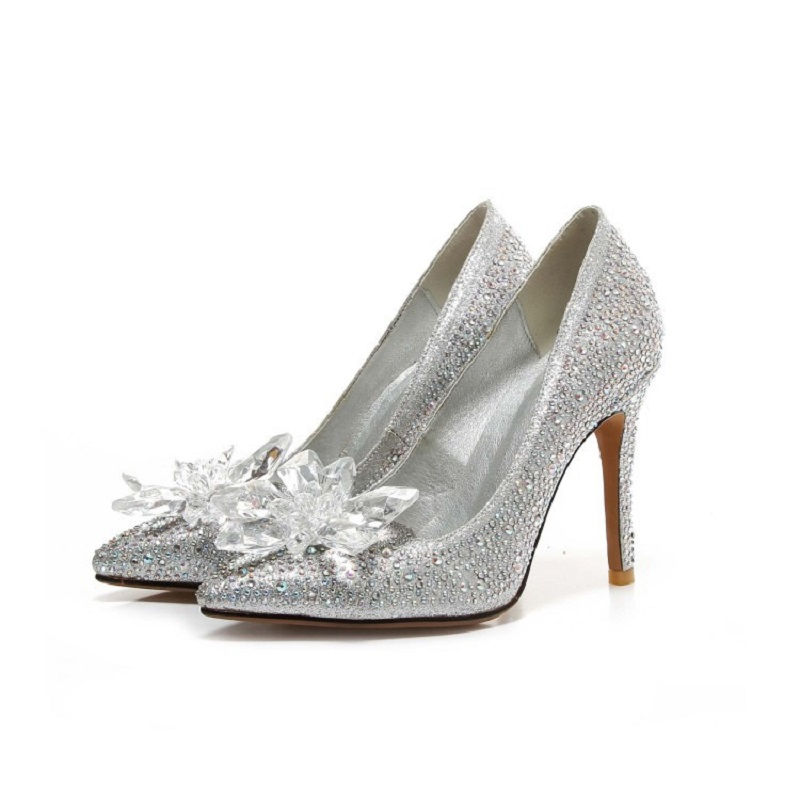 2017 spring and summer new rhinestone wedding shoes female tip large size crystal shoes with high heel with<br>