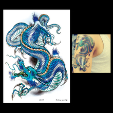 1pc Personalize Chinese Temporary Blue Dragon Tattoo LC-817 Waterproof Men Body Art Fake Flower Arm Sleeve Tattoo Paper Stickers