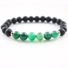 Women Bracelets Fashion Jewelry Wholesale 8mm Matte Black Onyx Green Eye Onxy Stone Wristbands Strand