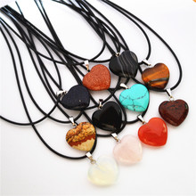 Supper Deal Fashion Natural Stone Heart Pendants Charms & Necklace Women Assorted Good Quality Only One 1Pcs/lot Free Shipping