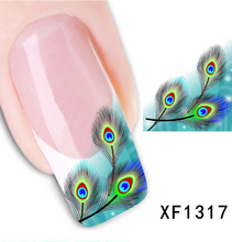 Free shipping Japanese style watermark 1 Sheets 3D Design cute green fearhers Tip Nail Art nail sticker nails Decal nail tools