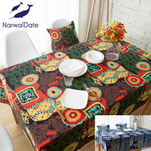 Mediterranean Bohemia Tablecloth Luxury Europe Endless Cotton Linen Cloth Dustproof  Table Cover Rectangular Home Hotel Wedding