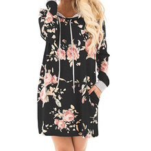 Adogirl New Autumn Floral Print Long Sleeve Hooded Dress Autumn Winter Pockets Hoodies Mini Dress Plus Size Casual Vestidos(China)