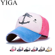 YIGA 2017 New Fashion Boat anchor printed baseball cap cotton washed hats for men and women Sun hat  wholesale