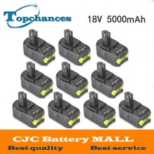 10PCS High Capacity New 18V 5000mAh Li-Ion For Ryobi Hot P108 RB18L40 Rechargeable Battery Pack Power Tool Battery Ryobi ONE+