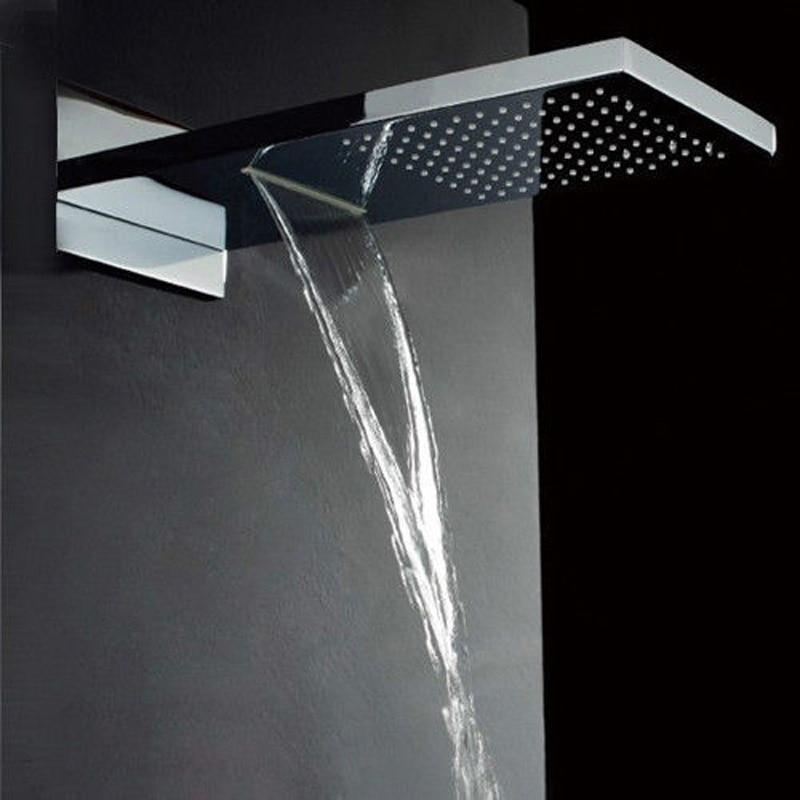 Luxury Dual Functions Waterfall Shower Head Polished Chrome Brass Big Rainfall Shower Head Chrome Finished<br><br>Aliexpress