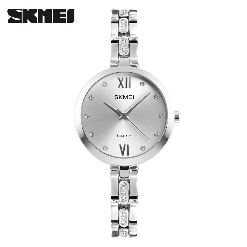SKMEI 1225 Women Quartz Wristwatches Luxury Rhinestones Strap Fashion Lady Dress Watches Silver Casual Watch Relogio Feminino<br><br>Aliexpress