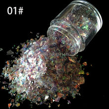 10g/bottle Nail Art Ice Mylar Shell Glitter Power Foil Paper light purple Nail Art Decoration Tools SG-01