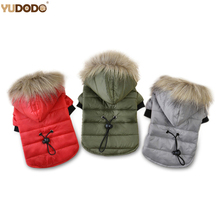 Green/Red/Gray Warm Cotton Dog Coats Adjustable Waist Windproof Hooded Pet Puppy Jacket Small Dog Soft Fur Hood Winter Clothes(China)