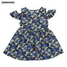 Danmoke 2018 Summer Girls Dress Floral Print Princess Dresses For Baby Girls Designer Formal Party Dress Kids Clothes(China)