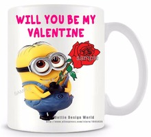 Will you be my Valentine minion funny novelty travel mug Ceramic white coffee tea cup personalized Birthday Easter gifts