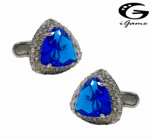 Free shipping Crystal Cufflinks 3 colors option black blue red top quality rhinestone design hotsale cufflinks whoelsale&retail(China)