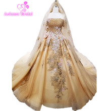 2018 Half Sleeves Bride Wedding Gown New Pregnant Gold Lace Flowers Dress WITH Veils Princess Dream Luxury Wedding Dress(China)