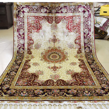 Mingxin Carpet 4x6ft Beige And Red Flower Hand Woven 100% Silk Carpet Handmade Carpets And Rugs Persian Art Silk Rug Floor Mat
