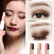2016 Brand novo Eyeshadow Stick Double Color Gradient Velvet Shimmer 6 style Makeup Palette Cosmetic Eye Shadow Cream Pen BN013(China)